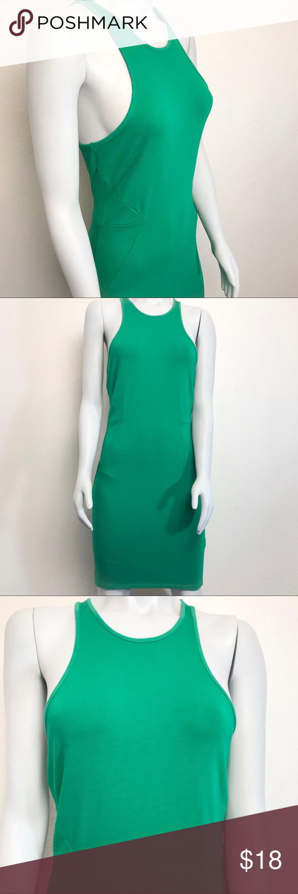 H M Green Racerback Bodycon Fit Dress Fitted Dress Bodycon Racerback [ 1740 x 580 Pixel ]