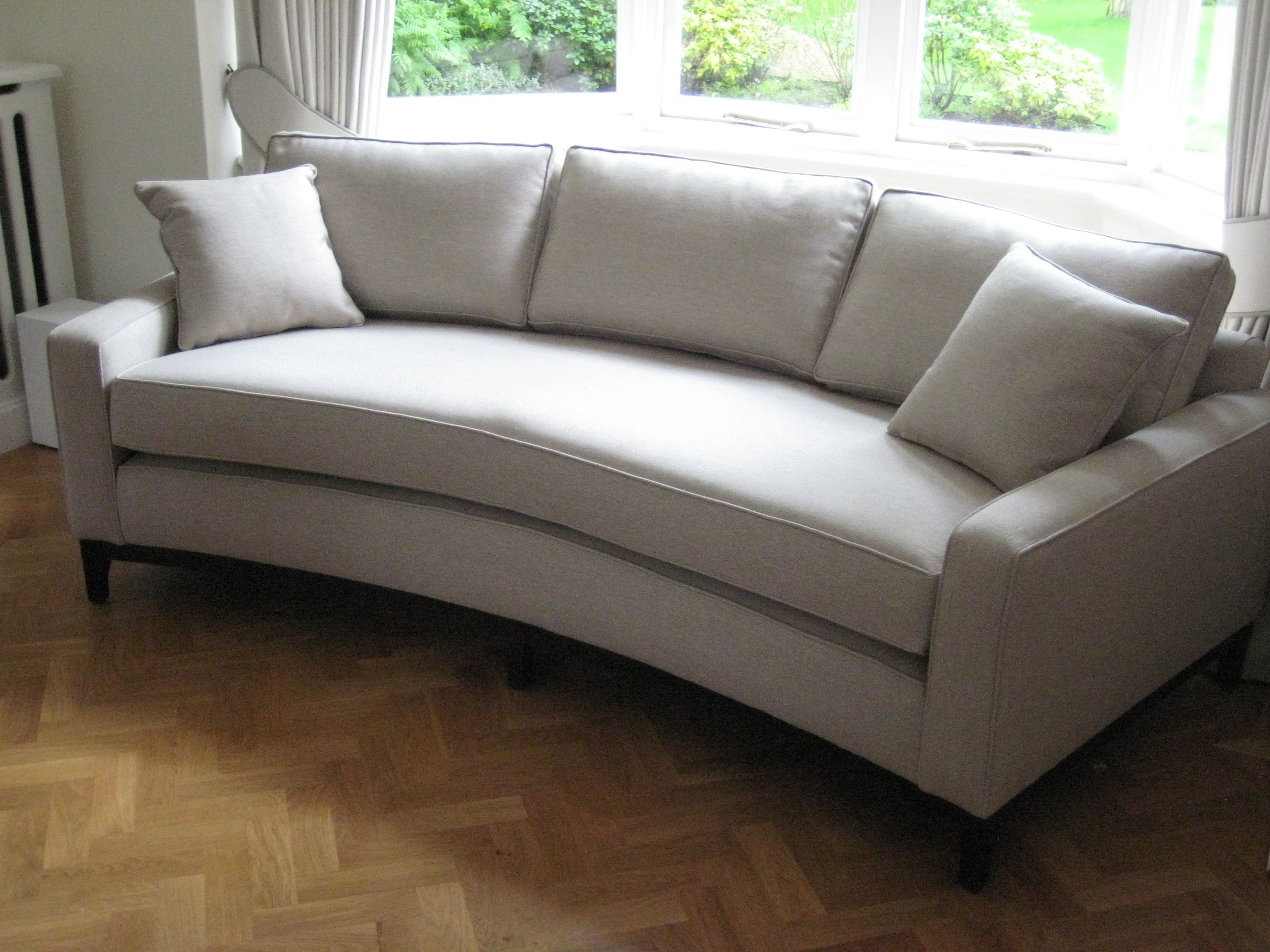bespoke curved sofa perfect for a bay window this has one base  - bespoke curved sofa perfect for a bay window this has one base seatcushion to create a very simple look the dark wood frame and legsaccentuate…
