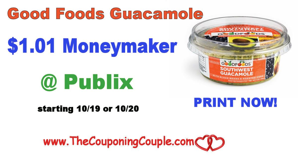 Good Foods Gaucamole $1.01 Moneymaker @ Publix starting 10/19 or 10/20. Be sure to print these coupons now while they are still there folks!*  Click the link below to get all of the details ► http://www.thecouponingcouple.com/good-foods-gaucamole-1-01-moneymaker-publix/ #Coupons #Couponing #CouponCommunity  Visit us at http://www.thecouponingcouple.com for more great posts!