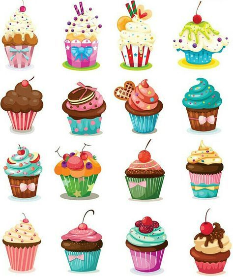 Yummy Delicious Cupcake Cake Muffins Digital Clip Art Embellishments Printable Clipart Instant Download Commercial Use