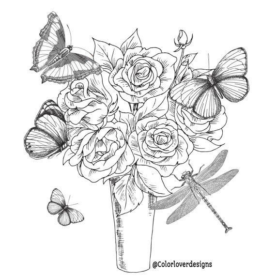 Printable Coloring Page Flowers Stress Relieving Patterns Etsy Coloring Pages Butterfly Coloring Page Printable Coloring Pages