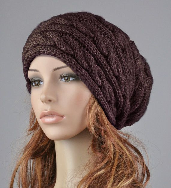 Hand knit hat woman wool hat winter hat slouchy hat brown coffee ...