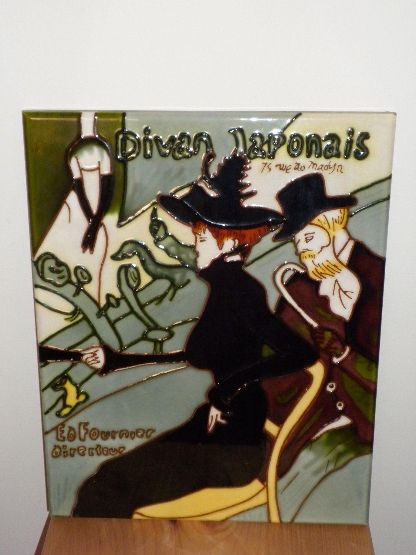 Divan Japonais, vintage art tile, base on Toulouse Lautrec's famous painting, Paris. $59.00, via Etsy.
