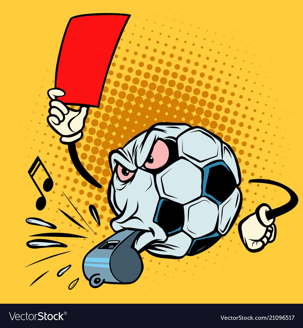 Red Card Referee Whistle Football Soccer Ball Vector Image On Vectorstock Retro Vector Illustration Red Card Retro Vector