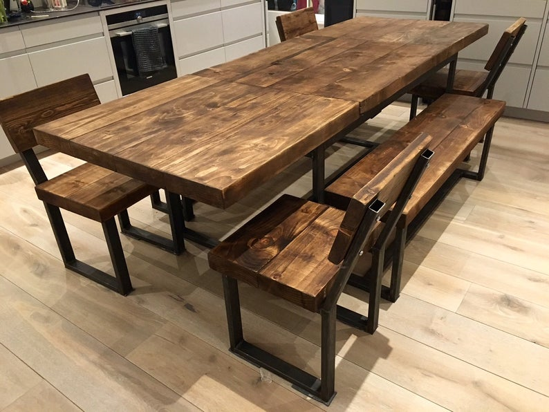 Reclaimed Industrial Chic 6 10 Seater Extending Dining Table Etsy Wood Dining Table Wood Dining Chairs Round Wood Dining Table
