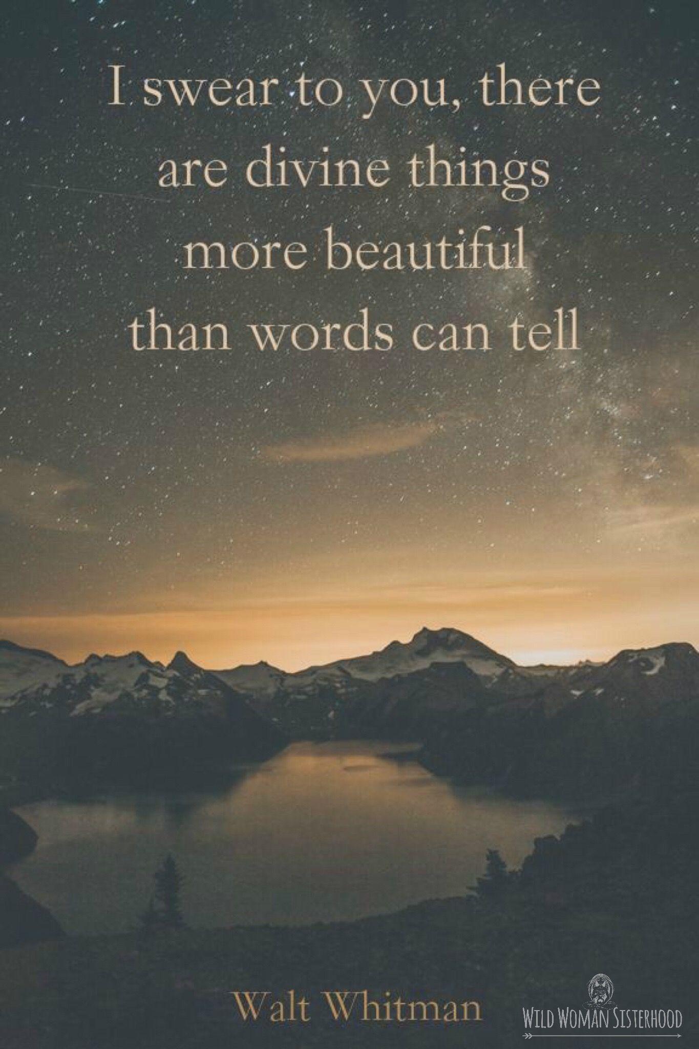 I swear to you there are Divine things more beautiful than words can tell..  ~ Walt Whitman WILD WOMAN SISTERHOODॐ #WildWomanSisterhood #theuniversewithin #wildwomanmedicine #brewyourmedicine