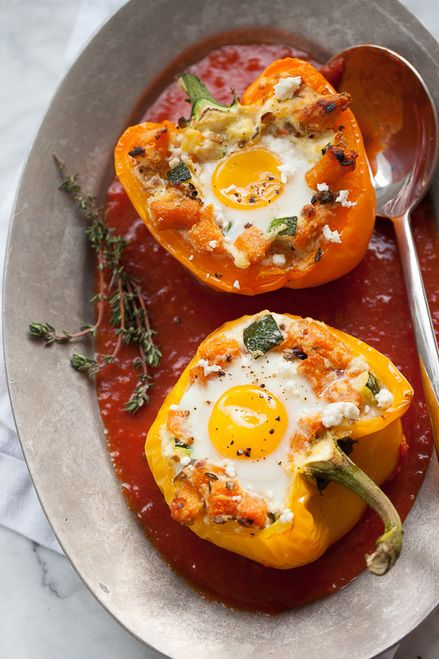 Photo of Baked Eggs in Stuffed Peppers with Sweet Potato Hash – (Free Recipe below)