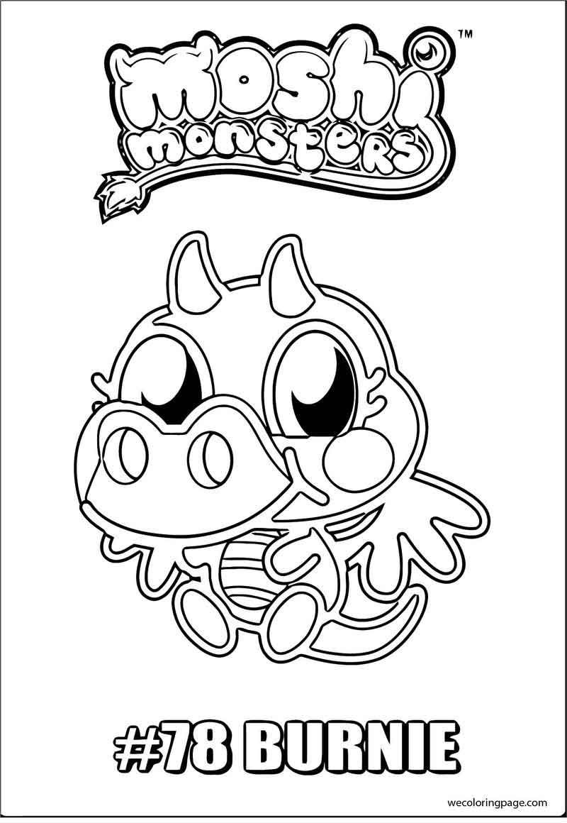 Moshi Monsters 78 Burnie Coloring Page