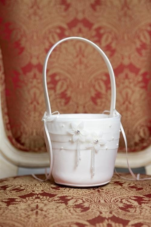 Organza Flower Girl Basket, Choose White or Off-White - Style BA009