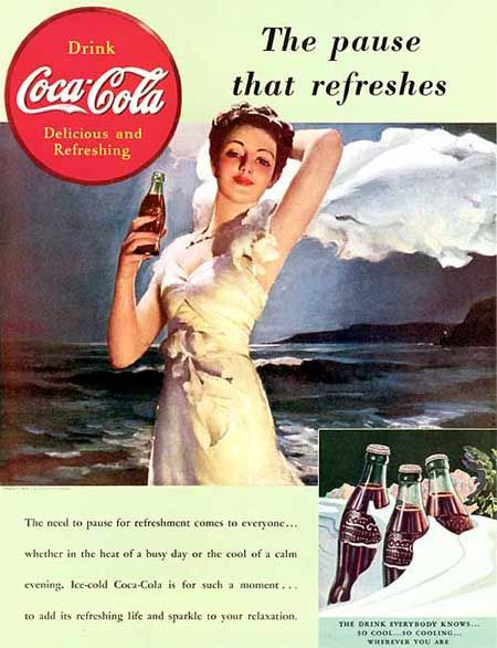 The first Coca Cola sale was at Jacob's Pharmacy in Atlanta, Georgia, on May 8, 1886. It was initially sold as a patent medicine for five cents.    Coca-Cola's promotion has had a significant impact on American advertising and its overall culture. It is even (erroneously) credited with the invention of the US traditional Santa Clause image.