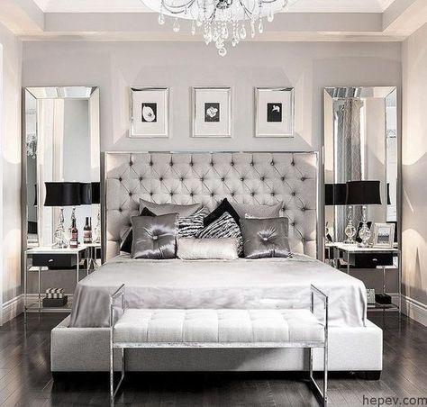 Gri ve Gümüş Tonlarında Yatak Odası Dekorasyonları #housegoals