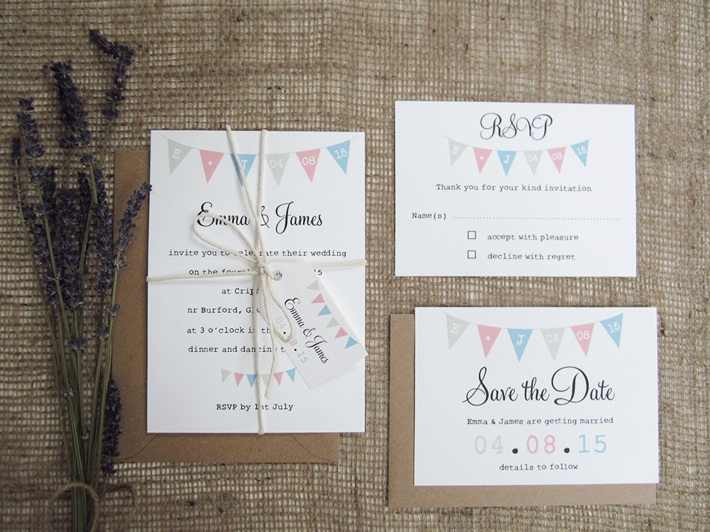 A rustic bunting wedding invitation with printing bunting and RSVP