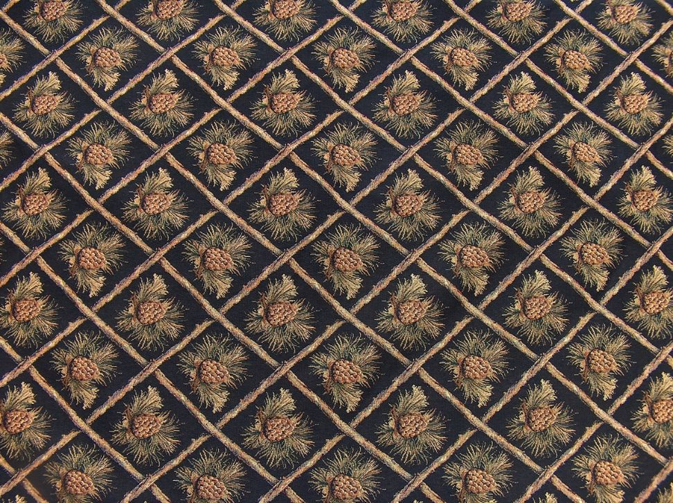 Rustic Pine Cone Black Tapestry Heavy Duty Upholstery