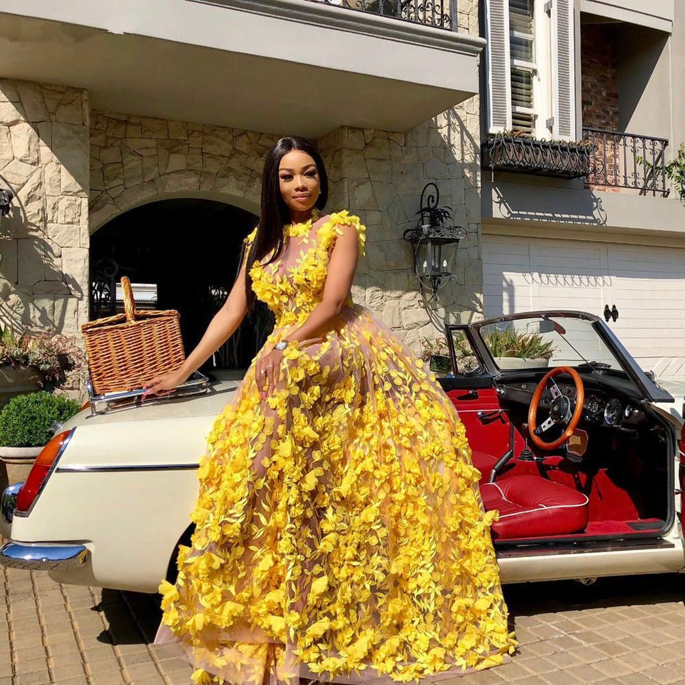 African Prom Dresses Yellow Plus Size 2020 New Ill