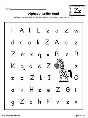 alphabet letter hunt letter z worksheet color lettre lettering printable preschool. Black Bedroom Furniture Sets. Home Design Ideas