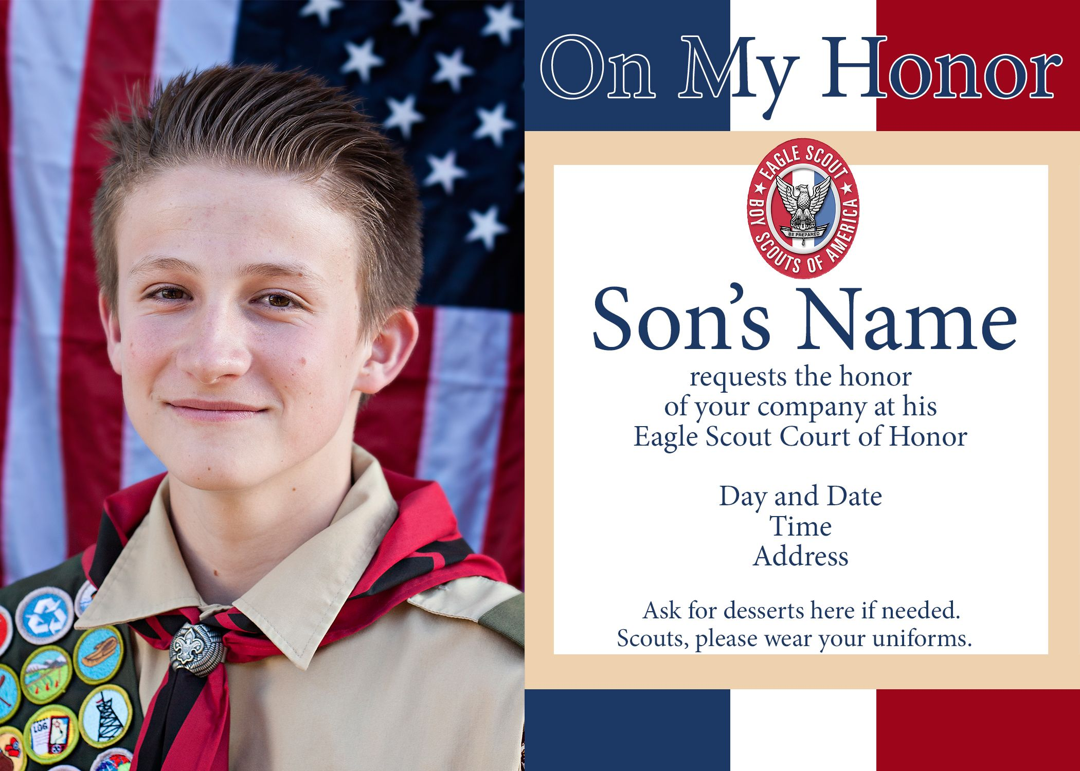 Eagle Scout Court of Honor Ideas and Free Printables – Eagle Scout Invitation Cards