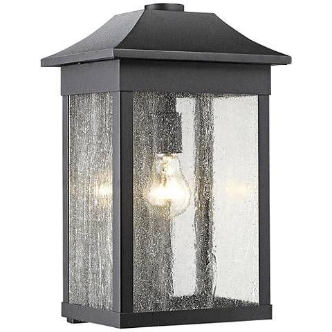 Artcraft morgan 16 high black outdoor wall light 9j283 lamps plus