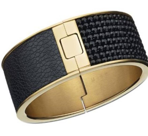 This patterned bangle is edgy and bold.