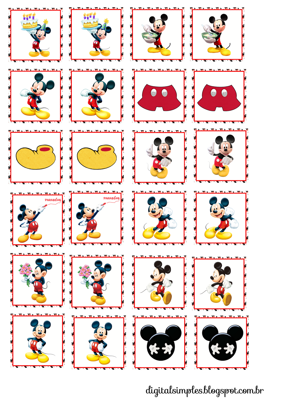 mickey toppers etiquetas o stickers para imprimir gratis festa mickey pinterest mice. Black Bedroom Furniture Sets. Home Design Ideas