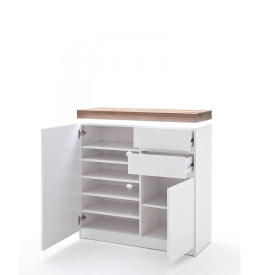 Knotted Oak Kitchen Cabinets: Romina Shoe Storage Cabinet In Knotty Oak Matt White With