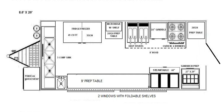 blueprints of a food truck floorplans 8x20 food truck