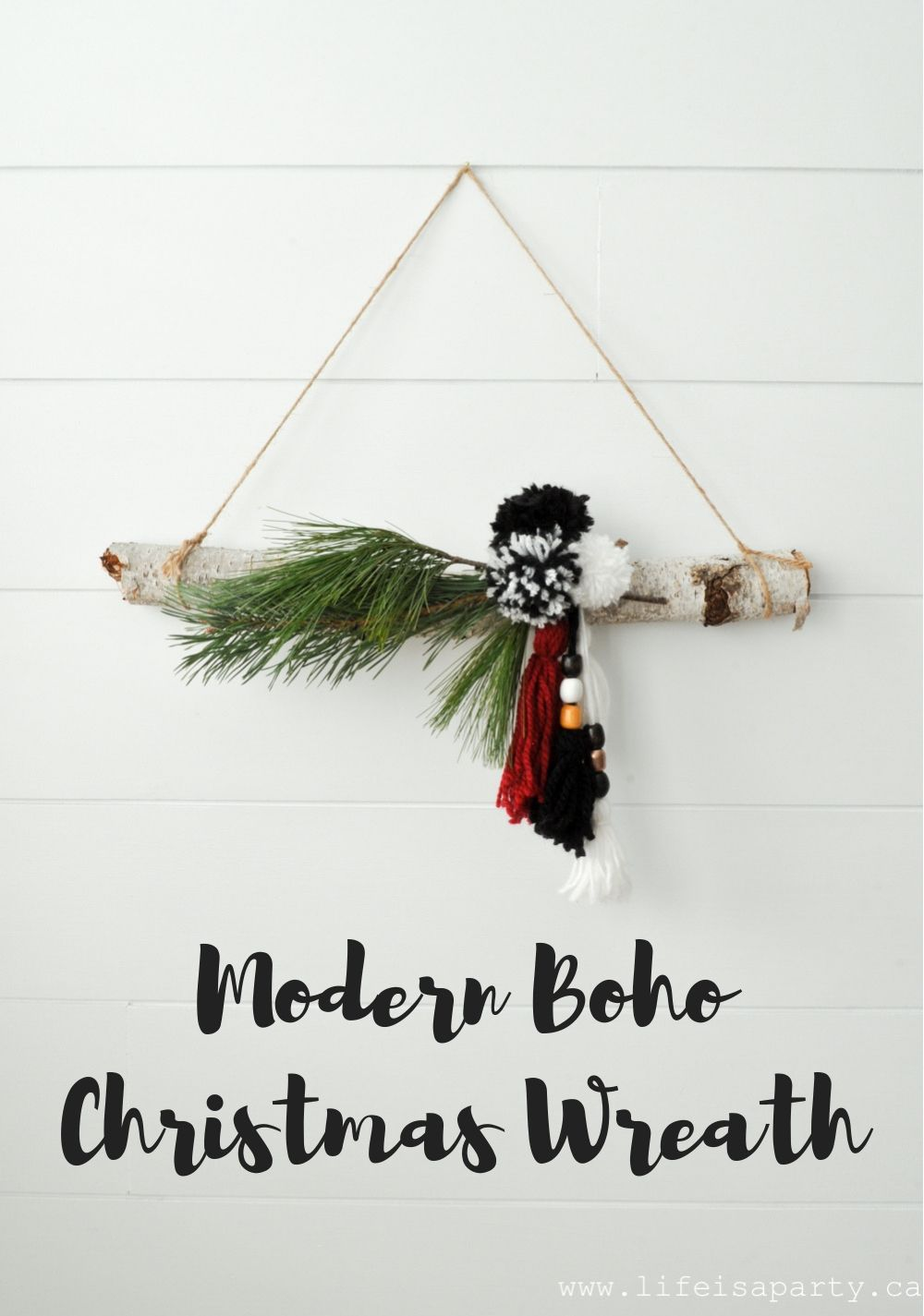 Modern Boho Christmas Wreath: easy DIY non-tradi… | •○⚫○• BOHO ...