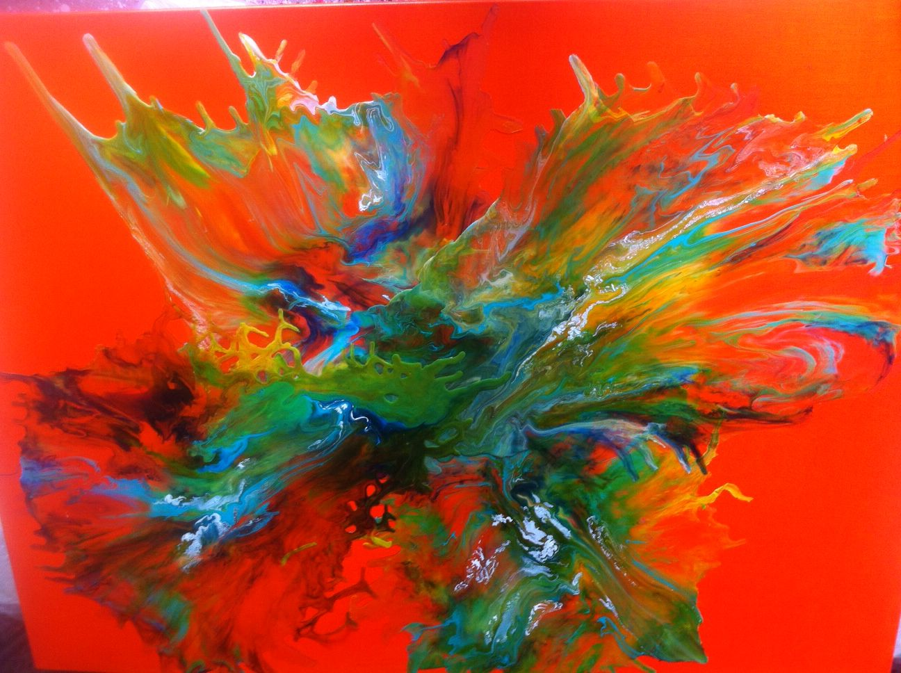 Beautiful flow of paint in vibrant colors