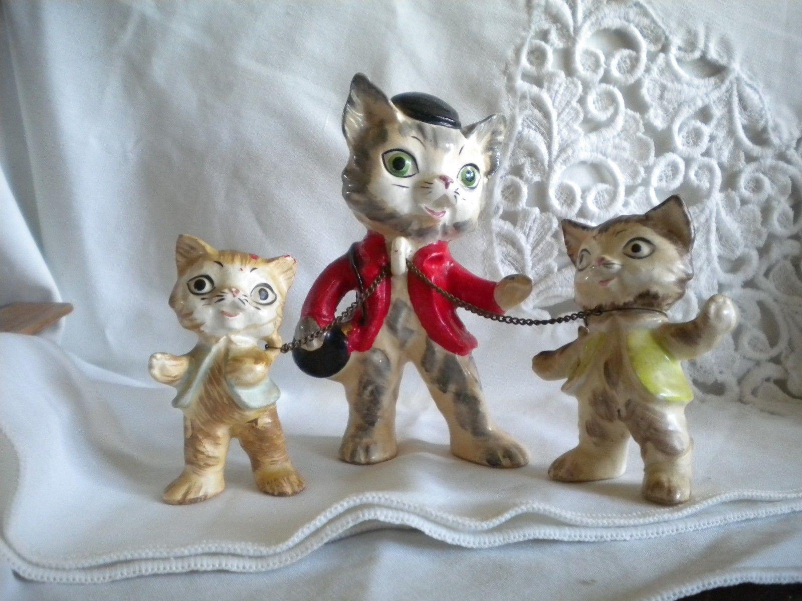 Vintage Cat Figurine Figure Rare Lot Of 3 Cat Father 2 Boy