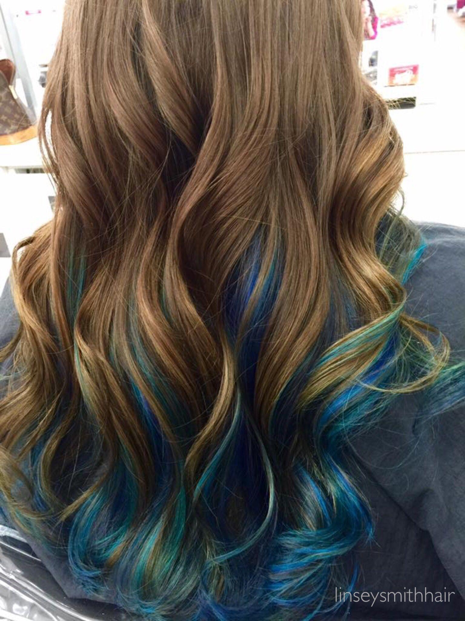 Brown Hair With Blue Peekaboos Blue Hair Highlights Blue Ombre Hair Peekaboo Hair