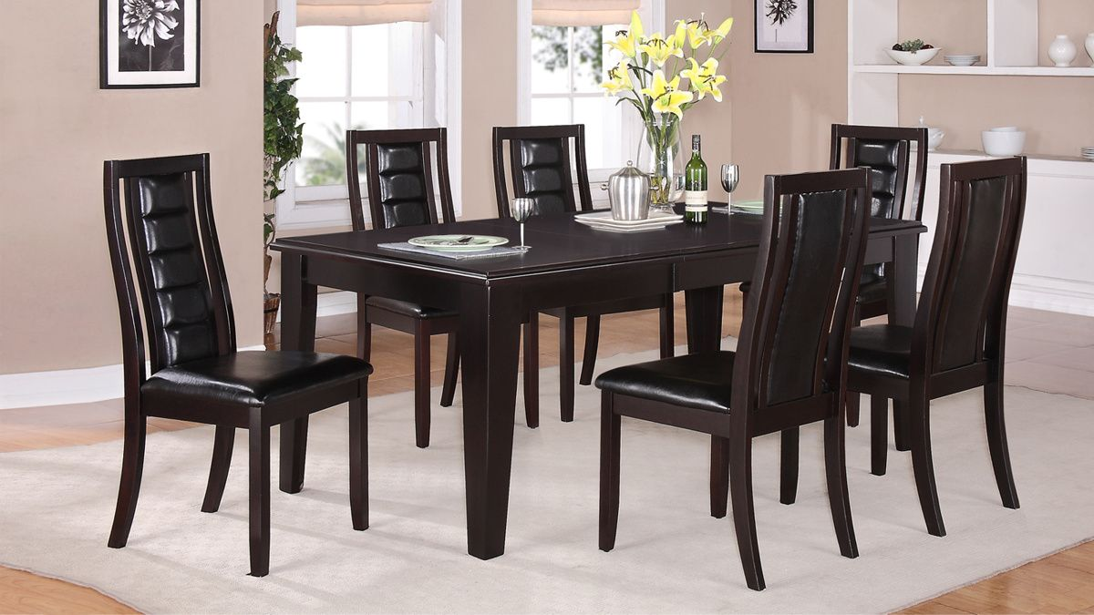Era Dark Brown Black Wood Dining Room Set Wooden Dining Table