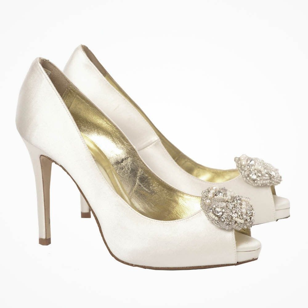 Alana wedding peeptoes by Freya Rose- Full shoe, peep toe with big sparkly shoe clip- gorgeous but £375!
