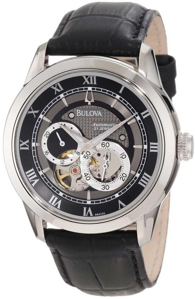 5ce4f69b4c0 Bulova 96A135 Men s Watch Stainless steel case. Leather strap. Black dial.  Automatic movement. Mineral crystal. Chronograph. Water resistant 30 meters.