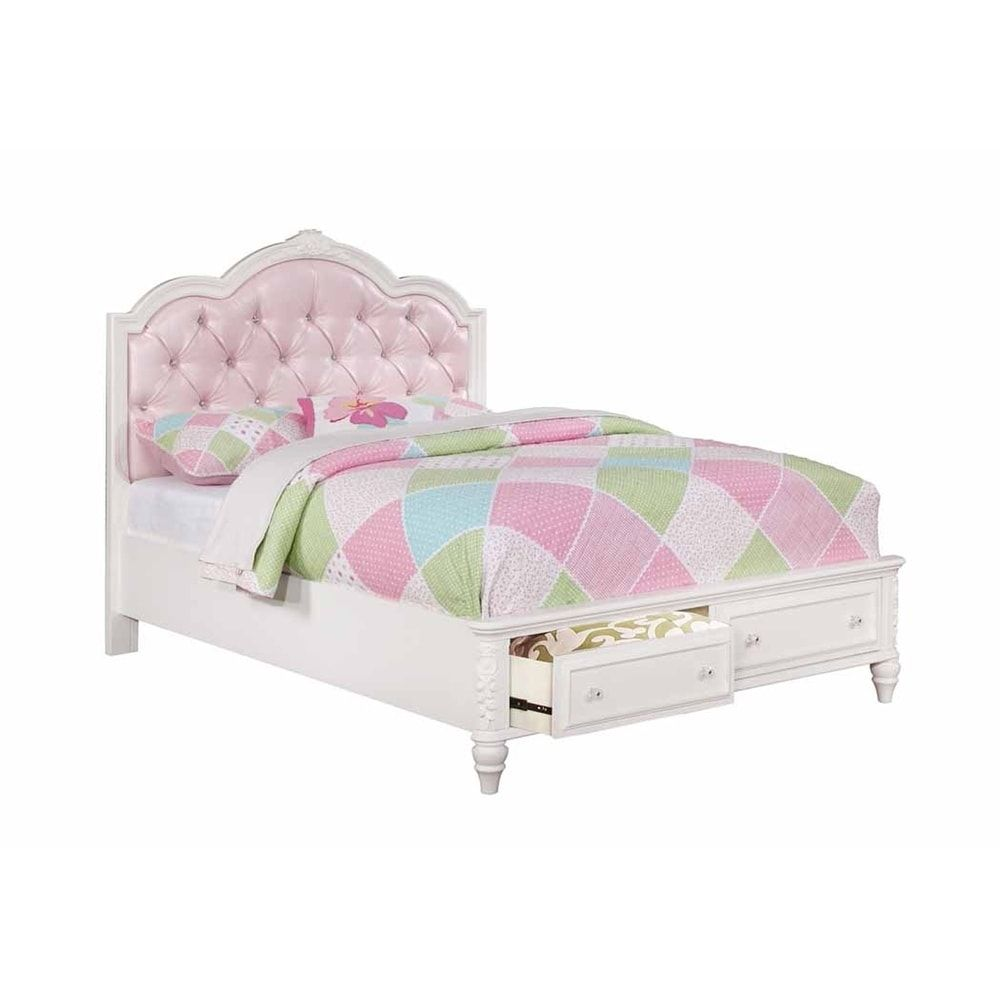 Seraphina Pink And White Storage Bed Full Double With Images Twin Storage Bed Storage Bed Full Bed With Storage
