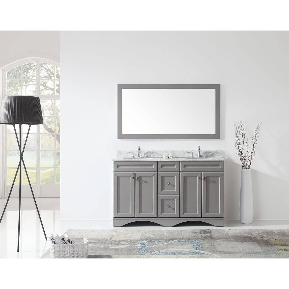 Image On Virtu USA Talisa inch Carrara White Marble Double Bathroom Vanity Set Grey