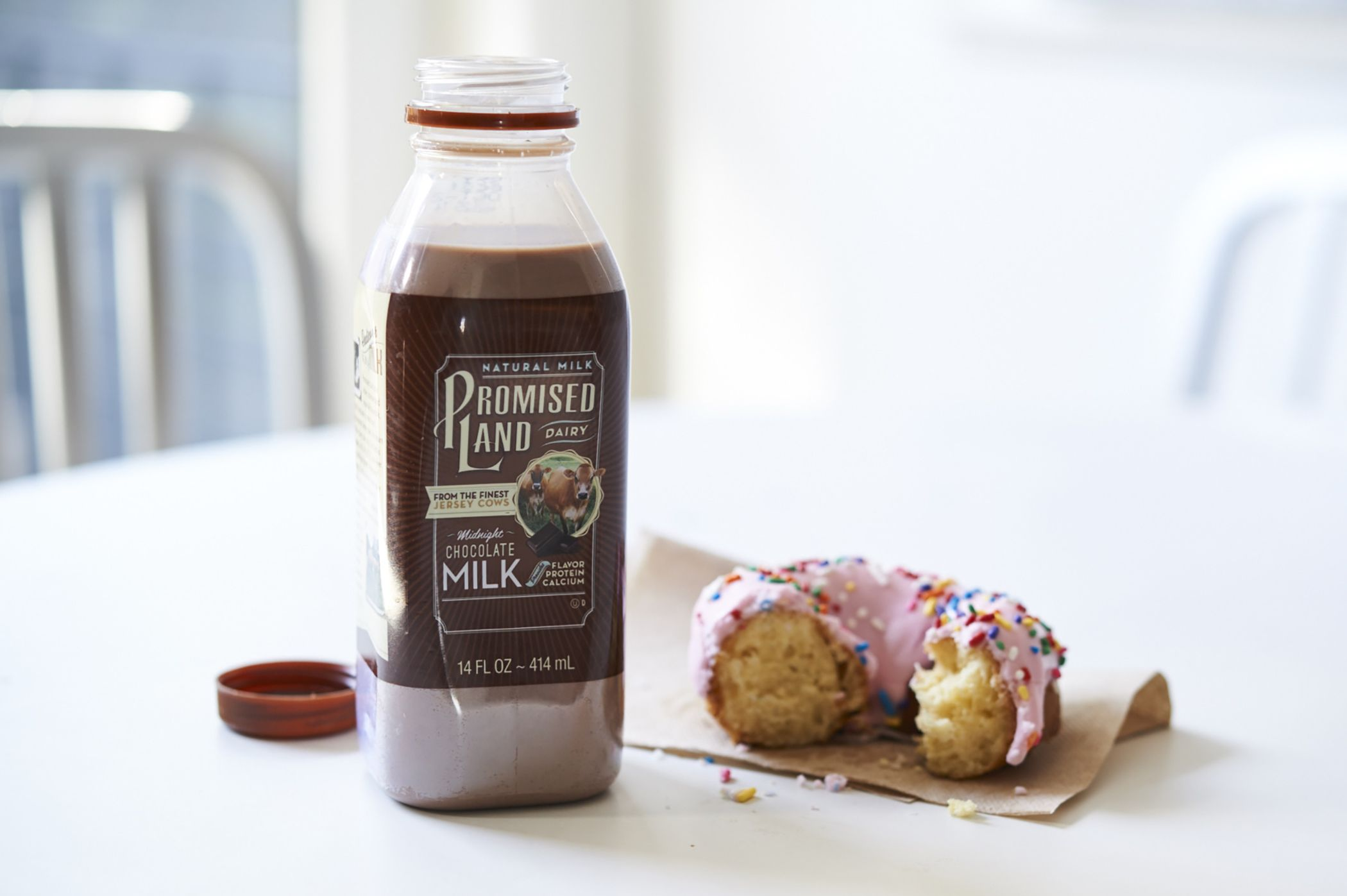 Promised Land Dairy Midnight Chocolate paired with your favorite donut  makes snack 84173587a