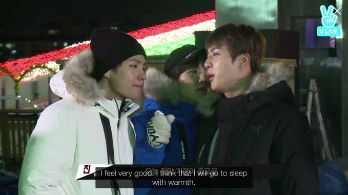 Isn't Taehyung the one who comes to Jin's bed continuously?! Jin do you mean you will sleep with Taehyung (warmth) ?!