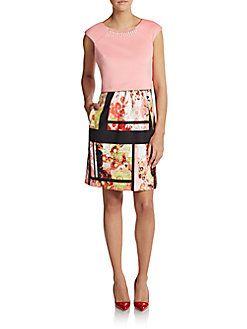 Mixed Print Overlay Scuba Dress