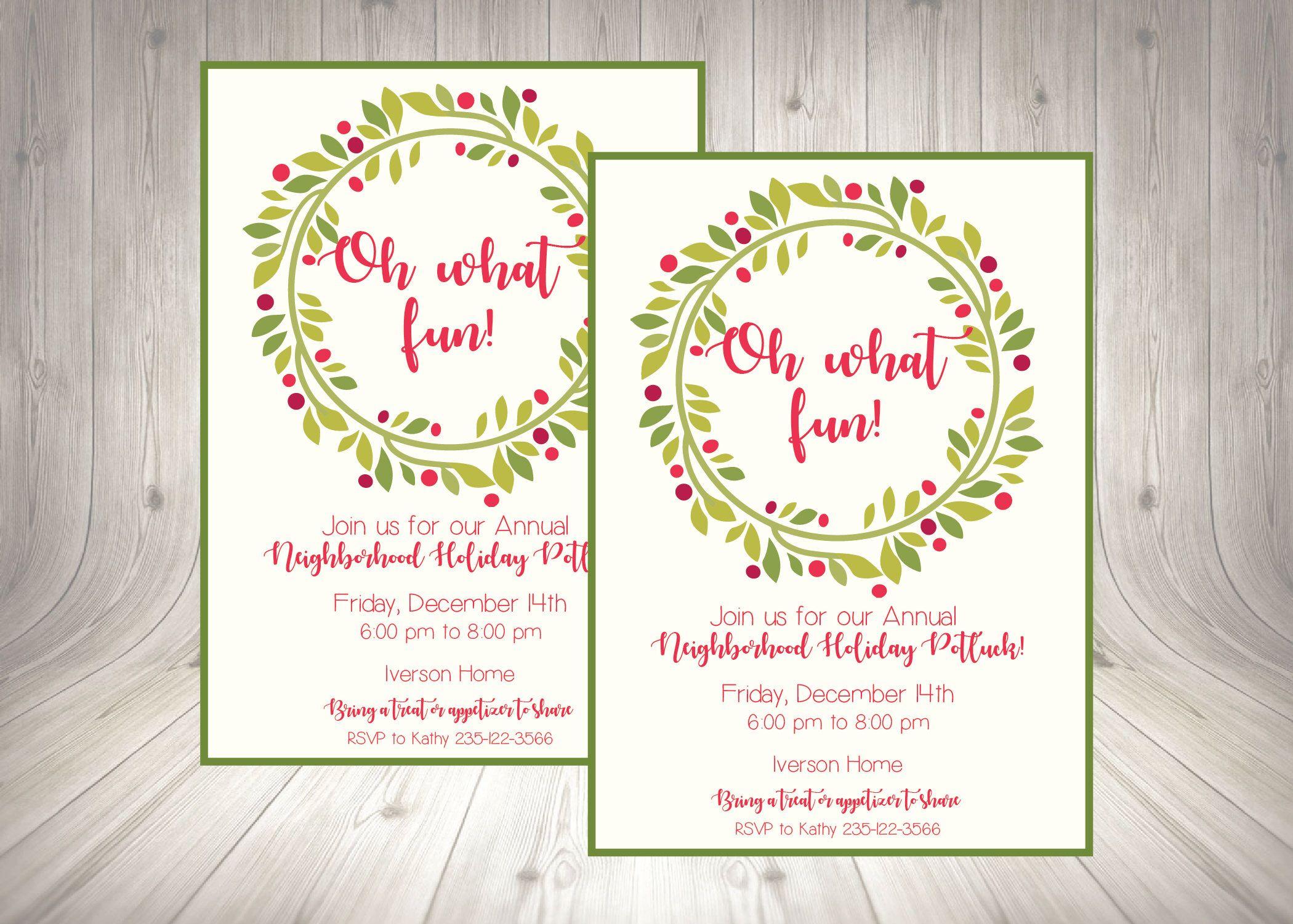 Good Neighborhood Christmas Party Ideas Part - 12: Neighborhood Christmas Holiday Party Invitation / Work Holiday Party Invite  /Church Christmas Party Flyer /
