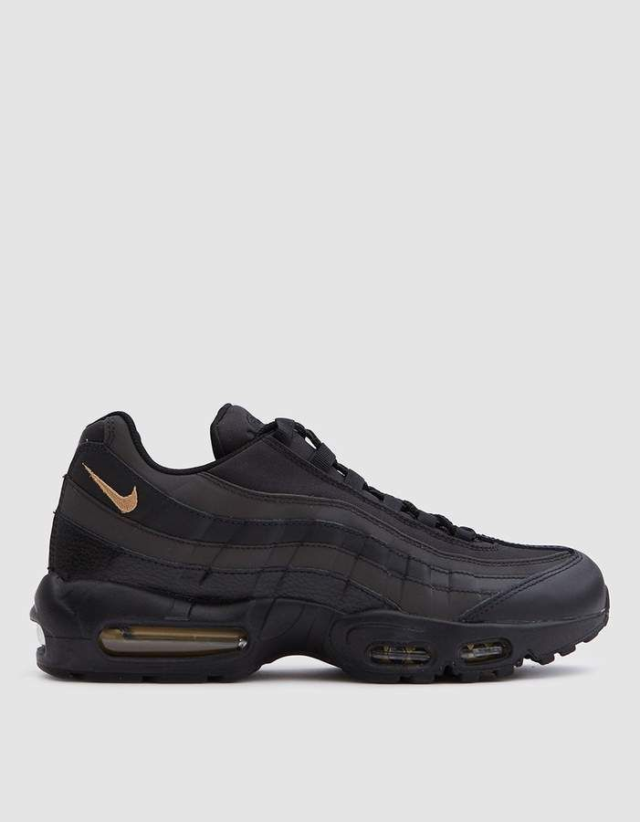Nike - Top of the line Rubber Shoes Must See - Nike Air Max 95 Premium SE  Shoe in Black Gold e5a25c02d