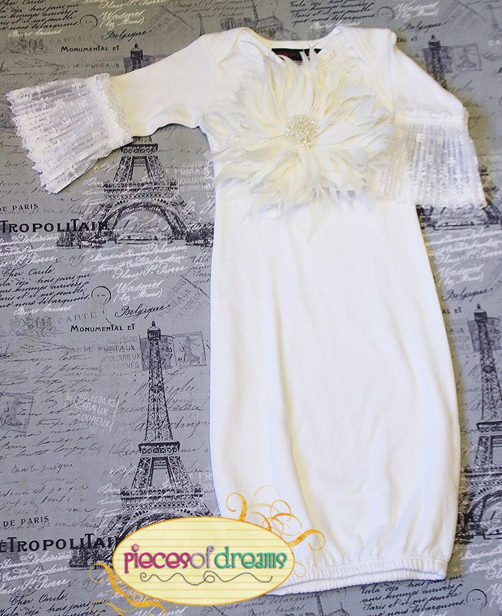 White Baby Gown, Newborn Gown, Take Home Outfit, Christening Gown ...