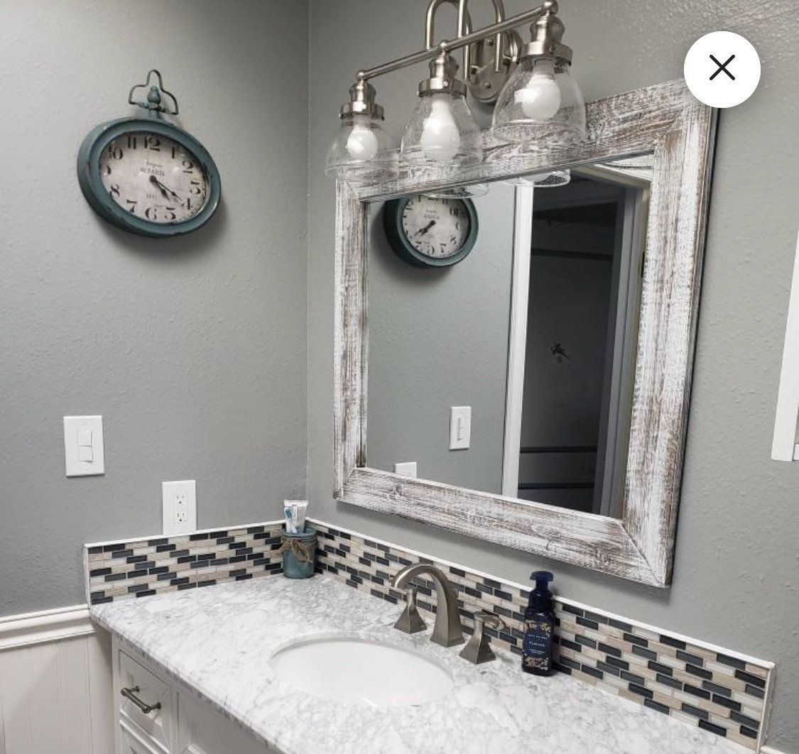 Whitewash Wood Wood Framed Mirror Rustic Wood Mirror Bathroom Mirror Wall Mirror Vanity Mirror Small Mirror In 2020 Wood Framed Mirror Wood Mirror Whitewash Wood