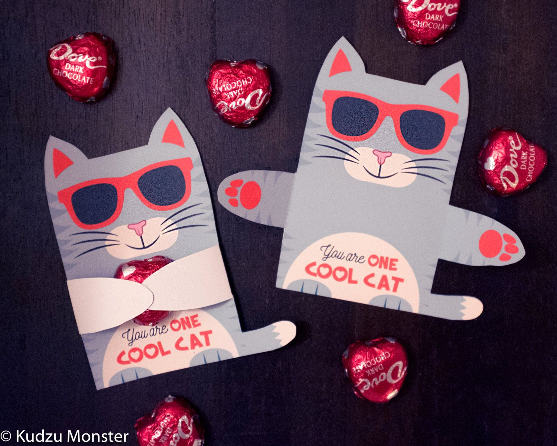 Grey Cool Cat Valentine Classroom Candy Hugger by KudzuMonster