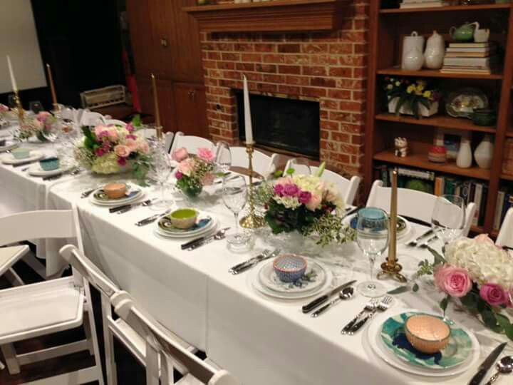 Dinner Party Ideas For 20 Part - 33: Dinner Table Setting For 20 People. Gold And Pink