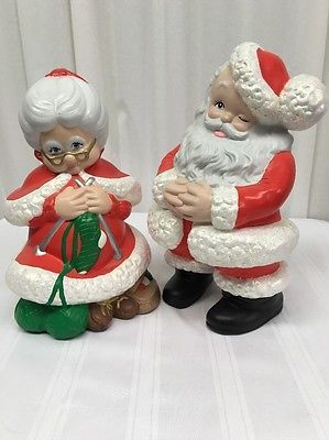 Vintage Atlantic Mold Mr Mrs Santa Claus Figure Set Ceramic Christmas Santa Claus Figure Santa Claus Crafts