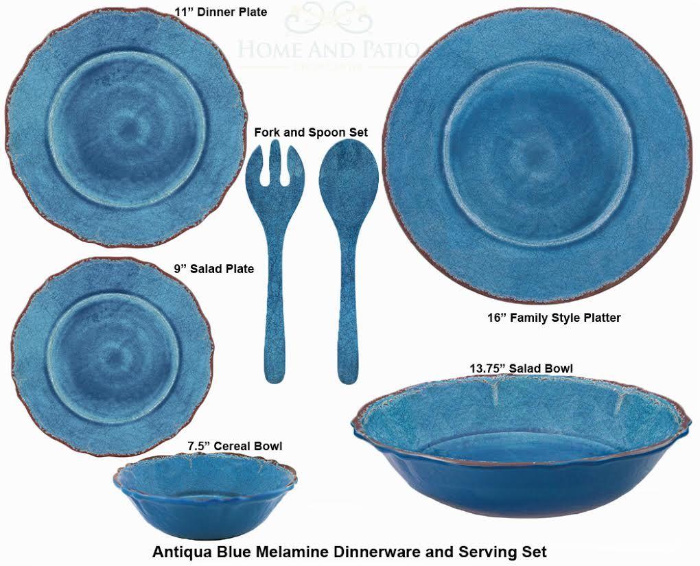 Le Cadeaux 16PC Antiqua Blue Melamine Dinnerware u0026 Hostess Set  sc 1 st  Pinterest & Le Cadeaux 16PC Antiqua Blue Melamine Dinnerware u0026 Hostess Set ...