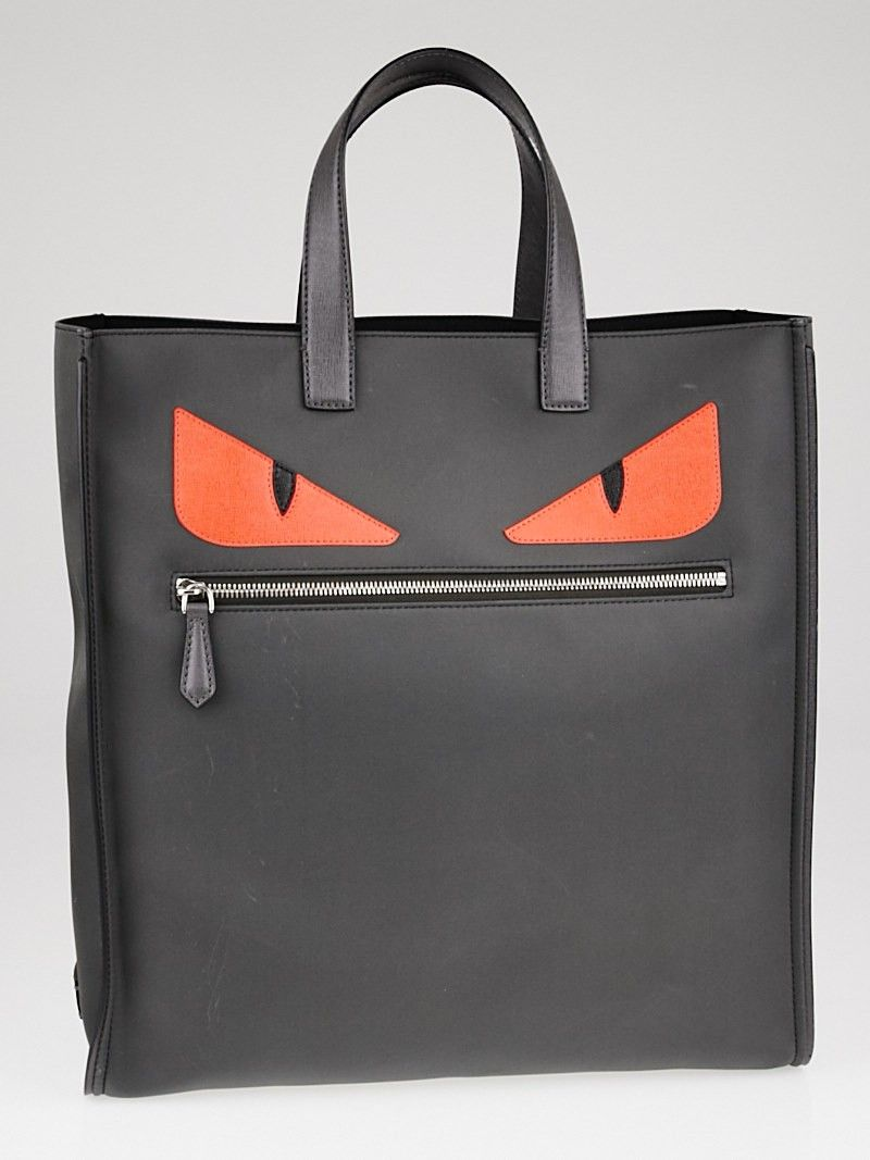 7176cc9b2f0f Fendi Grey Red Nylon Monster Eyes Tote Bag