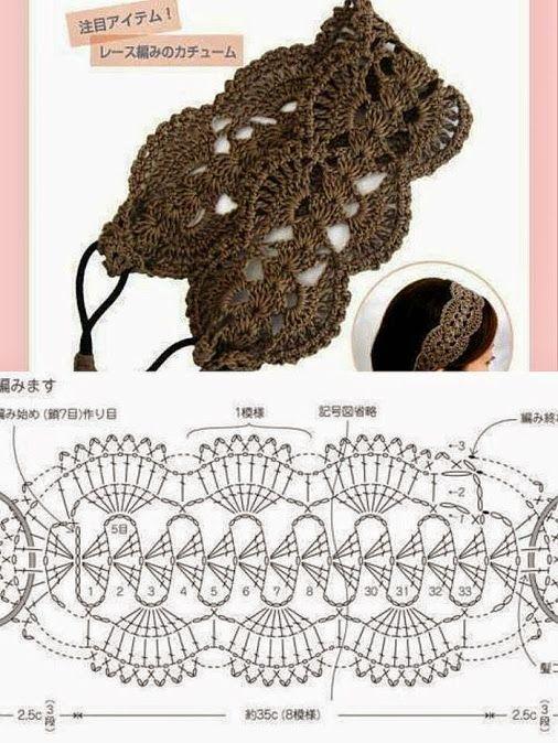 Tiara para cabelo feito em crochê. Retirado da internet. | Tejida ...