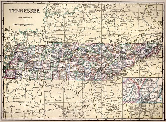 COLORFUL TENNESSEE VINTAGE 1934 Collectible Map Perfect Gift $10.95 ...