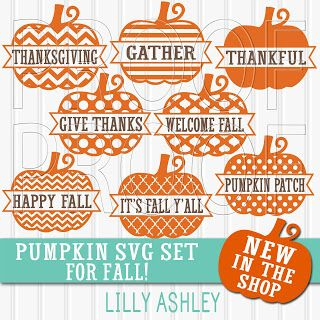 Pumpkin SVG set of 8 styles/phrases for Fall | Silhouette ...
