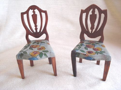 Vintage TYNIETOY Two Hand Painted FLORAL HEPPLEWHITE CHAIRS
